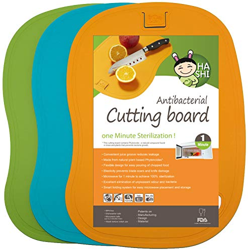 HASHI Ergonomic Design TPE Cutting Board Set of 3 - Flexible & Dishwasher Safe and BPA FREE Chopping board