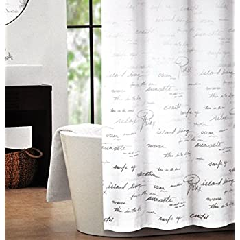 Amazoncom Tahari Fabric Shower Curtain Lavender Pattern Gray On - Shower curtain with words