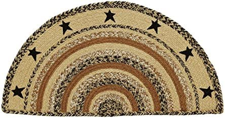 Classic Country Primitive Flooring – Kettle Grove Tan Stenciled Stars Half Circle Jute Rug
