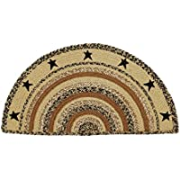 VHC Brands Classic Country Primitive Flooring - Kettle Grove Tan Stenciled Stars Half Circle Jute Rug