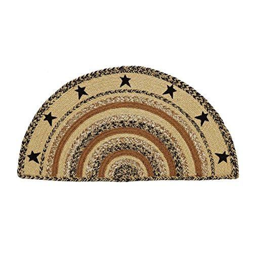 Classic Country Primitive Flooring - Kettle Grove Tan Stenciled Stars Half Circle Jute Rug