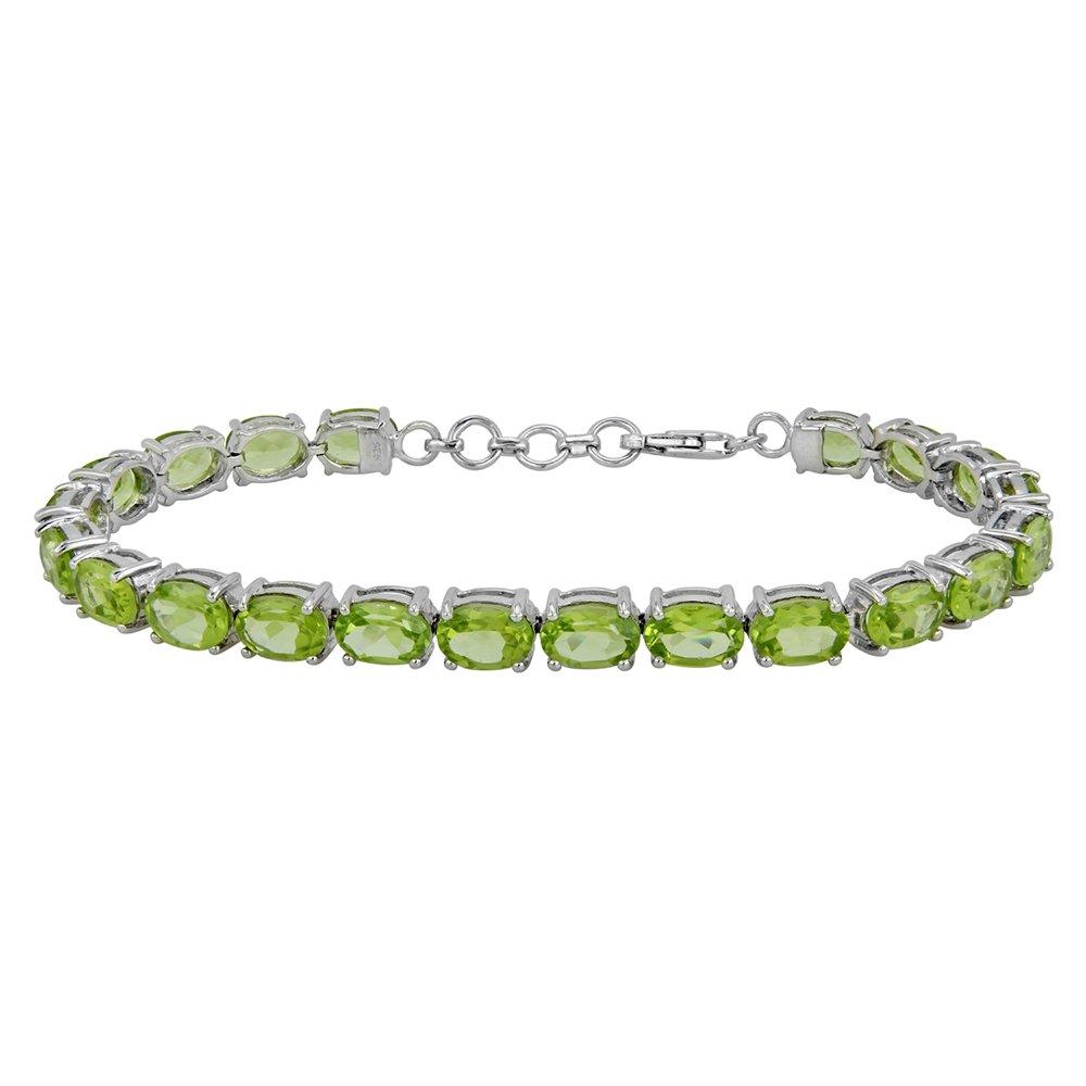 Fine Peridot Tennis Bracelet in Sterling Silver