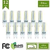 (Pack of 12) 4 Watt LED G9 Dimmable Light Bulb Replacement 40 Watt Halogen Bulbs, 4000K Natural White 120 Volt 400 Lumens 360 Degree G9 Base LED Light Bulb