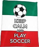 ''Keep Calm and Play Soccer'' - Soccer Fanatics' Plush Blanket (Mexico)