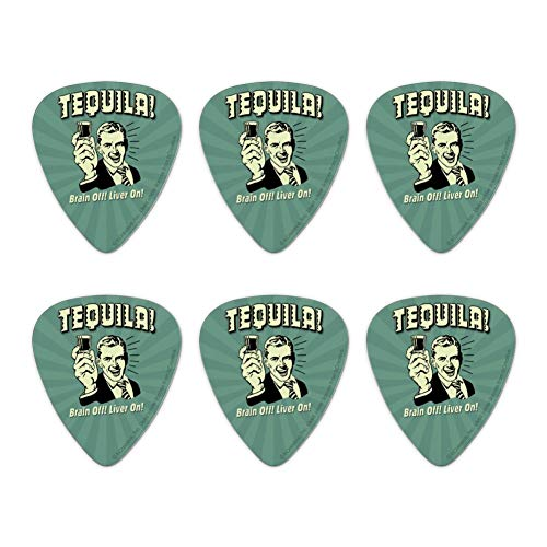 Off Liver - Tequila Brain Off Liver On Funny Humor Retro Novelty Guitar Picks Medium Gauge - Set of 6