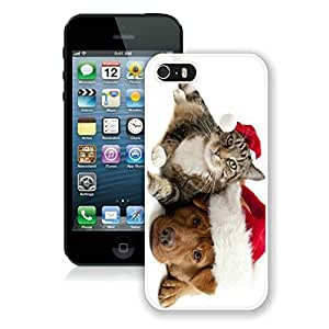 Hot Sell Iphone 5S Protective Cover Case Christmas Dog and Cat iPhone 5 5S TPU Case 5 White