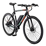 Schwinn Monroe Single-Speed Electric Bike, Featuring 58cm/Large Aluminum Frame, 250 Watt Hub Drive Motor with Handlebar LED Display, Mechanical Disc Brakes, and 700c/27.5-Inch Wheels, Black