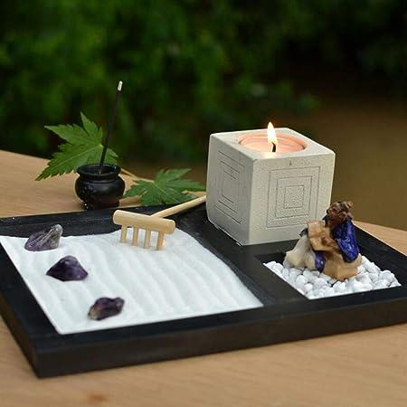 Laogg Jardin Zen Figura Buda con una Vela en Bandeja con Portaincienso Roca y Arena Decoración Zen Yoga Mesa Micro Paisaje Meditació: Amazon.es: Hogar