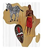 Chaoran 1 Fleece Blanket on Amazon Super Silky Soft All Season Super Plush Safari Decor Collection Africa Map Tribal Ethnic Culturalymbols with a Native Local Man Art Work Print Fabric Extra