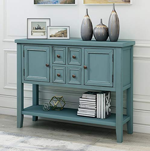 Console Table Sideboard Buffet Storage Cabinet Home Furniture for Entryway Hallway with Bottle Shelf (Dark Blue)