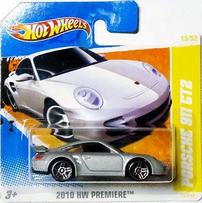 2010 Hot Wheels (Silver) PORSCHE 911 GT2 #15/214, HW Premiere #15/52 (Short Card) - Porsche 911 Turbo Gt3