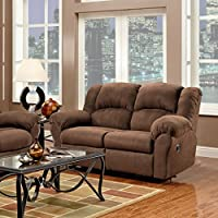 Roundhill Furniture Aruba Microfiber Dual Reclining Loveseat, Chocolate