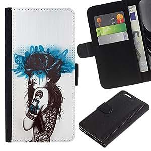 For Apple (5.5 inches!!!) iPhone 6+ Plus / 6S+ Plus Case , Smoking Girl Butterfly Tattoo - la tarjeta de Crédito Slots PU Funda de cuero Monedero caso cubierta de piel