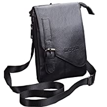 Mens Genuine Leather Vertical Mini Messenger Bag Belt Waist Pouch Cellphone Purse Fanny Pack Crossbody Bag Multipurpose Travel Pack with Detachable Shoulder Strap/a Carabiner+Hwin Free Keychain-Black