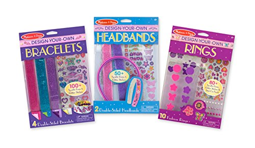 Melissa & Doug Design-Your-Own Accessories Jewelry-Making Kits Set: Bracelets, Headbands, Rings - 230+ Stickers