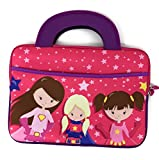 Portable Travel Kids Activity Bag Girl Boy Tablet Sizes 7 inch 7.5 7.6 7.7 8'' 8.1 8.2 9 9.5 9.6 9.8 10 10.1 Sleeve Handles Tote Neoprene Portfolio Case accessory pocket (Super Hero Girls)