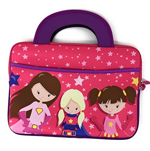 Portable Travel Kids Activity Bag Girl Boy Tablet Sizes 7 inch 7.5 7.6 7.7 8'' 8.1 8.2 9 9.5 9.6 9.8 10 10.1 Sleeve Handles Tote Neoprene Portfolio Case accessory pocket (Super Hero Girls) by Blue Joy