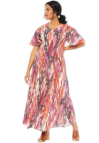 Roamans Women's Plus Size Crinkle Short Sleeve Maxi Dress - Multi Ikat Print, 14/16