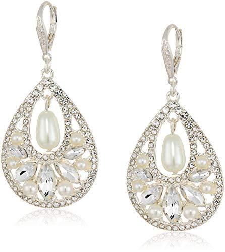 (Anne Klein Women's Pearl Cluster Drop Earrings, White)