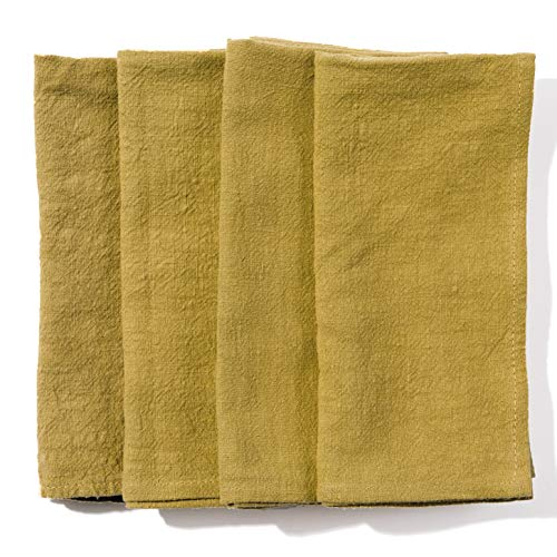 (Caldo Linen Dinner Napkins - Soft and Durable Cloth - 4 Pack - 20x20 inch (Mustard))