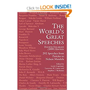 The World's Great Speeches: Fourth Enlarged (1999) Edition Lewis Copeland, Lawrence W. Lamm and Stephen J. McKenna