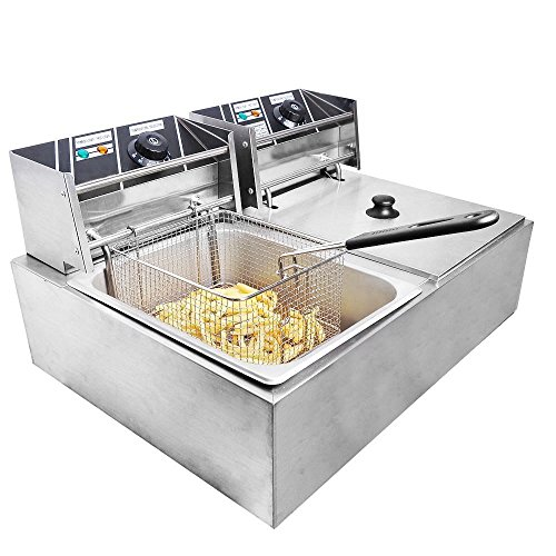 Clevr 11 Liter Capacity Commercial Stainless Steel Deep Fryer Machine 110v Double Two Tank Design