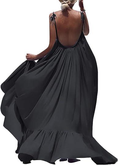 Womens Vintage Floral Lace Long Maxi Dress Spaghetti Strap Elegant Beach Party Dress