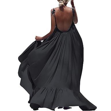 d0517fe92e Daylin Newest Bohemia Modern ElegantWomen Boho Maxi Solid Sleeveless Long  Backless Dress Evening Party Beach Dress: Amazon.co.uk: Clothing