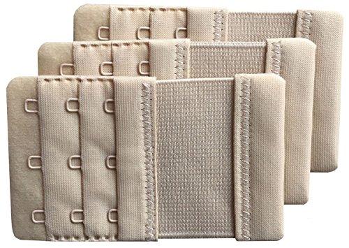 Chanie Women Pack of 3 Soft Comfortable 3 Hooks Bra Extender, Beige, One ()