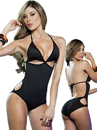 Amazon.com: Exotic Black One Piece Swimsuit/Dancewear