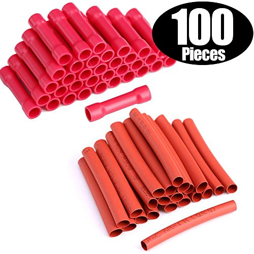 Hilitchi 100pcs 22-16 Gauge Butt Insulated Splice Terminals Electrical Wire Crimp Connectors, 50pcs Heat Shrink Tubing