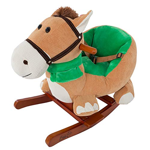 Rocking Horse Plush Animal on Wooden Rockers with Seat & Seat Belt and Sounds, Ride on Toy for Babies 1-3 Years, by Happy Trails - Brown (Renewed)