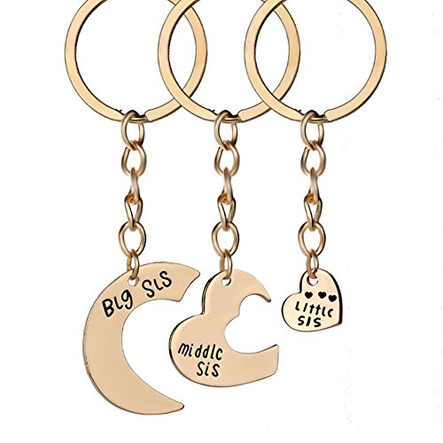 Romanticworks 3 Pieces Heart Keychain Set Big Sis Middle Lil Sister Love Forever Necklace (Rose Gold Sister ()