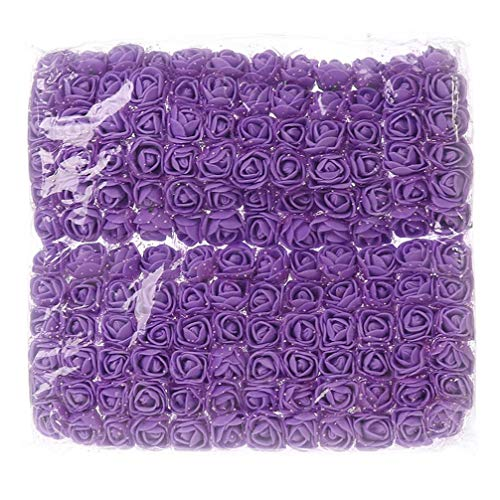 Mini foam roses artificial flower Bulk for Crafts Home Wedding Fake Rose Flowers Decoration Scrapbooking DIY Wreath Gift Box Artificial Flower Bouquet Party Decor 144pcs 2cm (Purple) ()