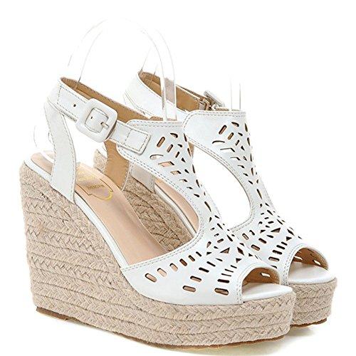 Easemax Womens Fashion Hollow Out Peep Toe High Wedge Heel Sandals White RuDeARiDOx