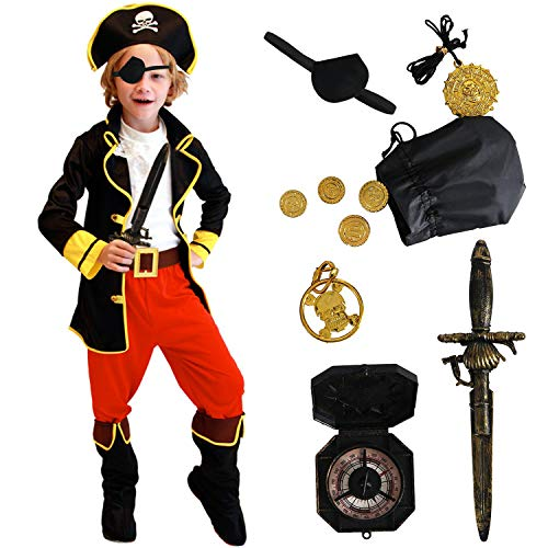 Boys Pirate Costume Kids Deluxe Costume Set Pirate Sword Compass Earring Purse Coins Medallion Pirate Accessories Role Play Dress Up for Halloween Party (L) White]()
