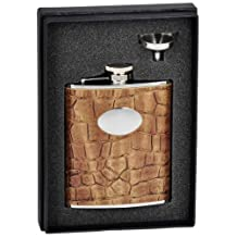 "Visol ""Bronze"" Crocodile Leather Flask Gift Set, 6-Ounce, Brown"