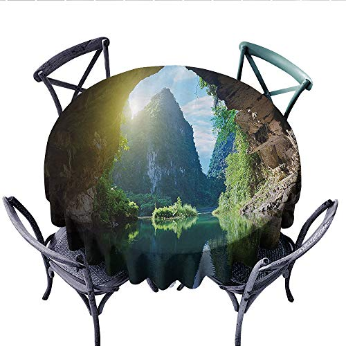 Natural Cave Decorations Patterned Tablecloth Mountain and Sky View from The Grotto Viatnemese Tam COC Park Myst Nature Photo Waterproof Table Cover for Kitchen (Round, 36 Inch, Multi)]()