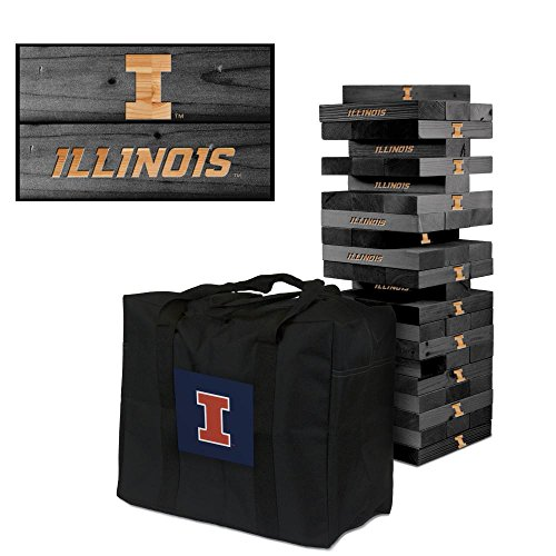NCAA Illinois Fighting Illini Illinois Onyx Stained Giant Wooden Tumble Tower Game, Multicolor, One Size by Victory Tailgate