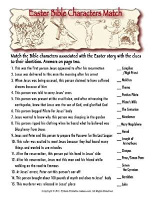 Bible Characters Printable Easter Trivia Game [Download]