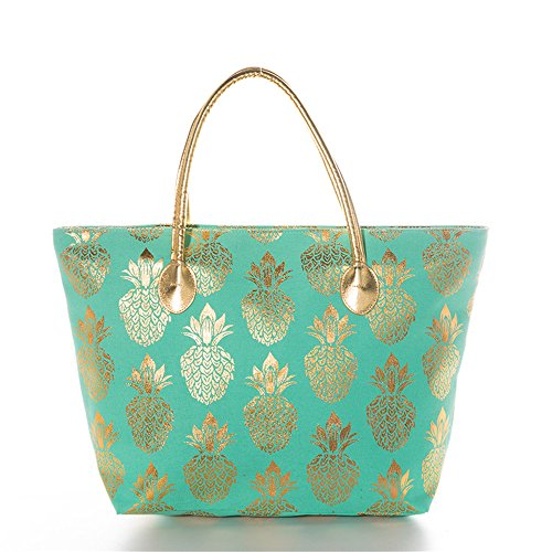 Women Metallic Gold Pineapple Large Beach Tote Bag Canvas Beach Shoulder Bag (Mint)