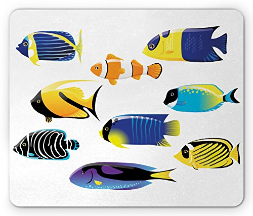 (Ambesonne Fish Mouse Pad, Various Types of Sea Creatures with Atlantic Cod Bonito Palette Surgeonfish Image, Standard Size Rectangle Non-Slip Rubber Mousepad, Multicolor)
