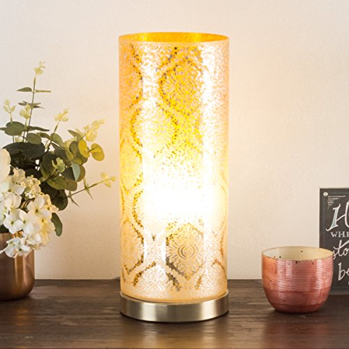 Lavish Home 72-UPLT-4 72-Uplt-4 Led Up light Table Lamp With  Glass, Amber