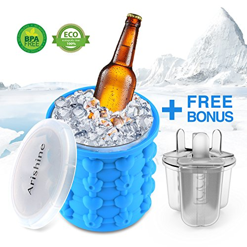 Ice Cube Maker Genie From Arishine  Silicone Ice Bucket  Portable Ice Maker With Private Mode  Set Of 3 Ice Pop Molds Bonus  Make Ice Cube Easily  Made For Trip   Picnic  Bpa Free