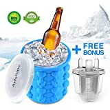 Ice Cube Maker Genie from Arishine, Silicone Ice Bucket, Portable Ice Maker with Private Mode, Set of 3 Ice Pop Molds Bonus, Make Ice Cube Easily, Made for Trip & Picnic, BPA Free