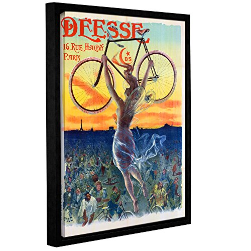 ArtWall Jean De Paleologue's Vintage French Poster of a Goddess with a Bicycle C.1898 Gallery Wrapped Floater Framed Canvas Artwork, 24
