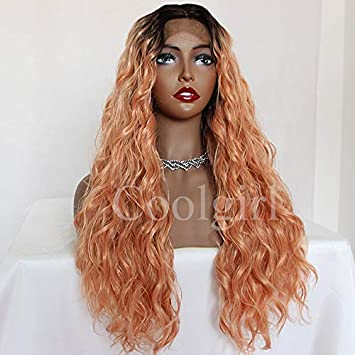 Amazon Com Coolgirl Orange Hair Color Ombre Synthetic Lace Front