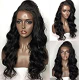 Human Hair Body Weave lace frontal wig 100% Real Brazilian Hair Natural Color 130% Density Wig For Black Women (18'', lace forntal wig)