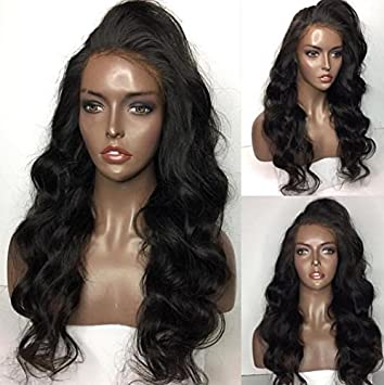 Human Hair Body Weave lace frontal wig 100% Real Brazilian Hair Natural  Color 130% fd990e86a68e