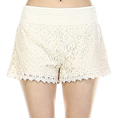 Fashionazzle Women's Casual Summer Beach Shorts with Lace Hem